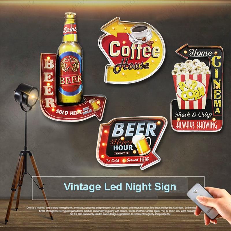Ice Cold Beer LED Neon Light Signs Vintage Metal Signs Bar Cafe Cinema Popcorn Advertisement Sign Night Sign Remote Control N386 недорого