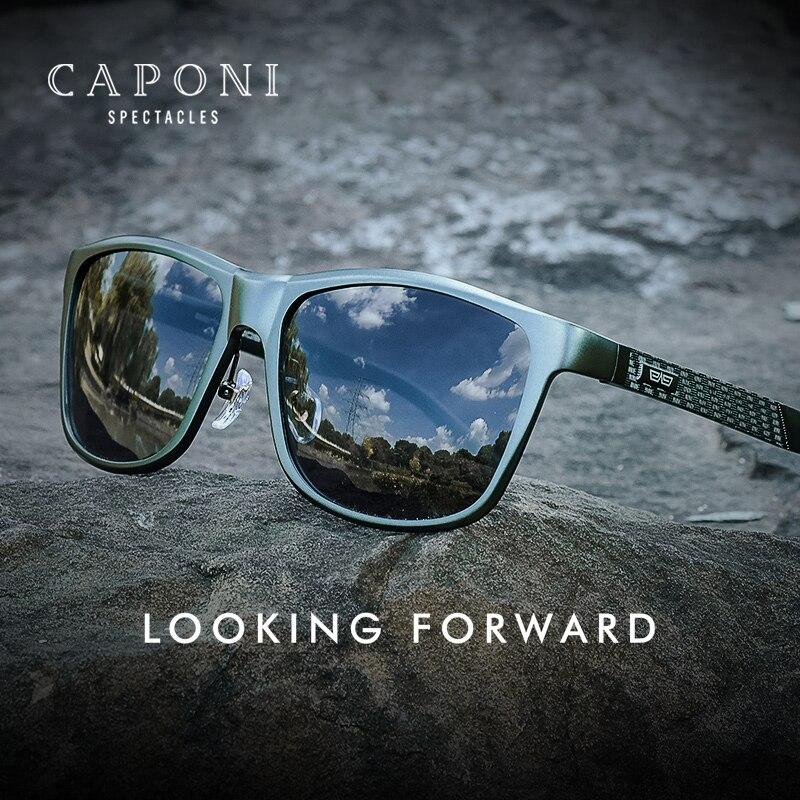نظارات شمسية للرجال من CAPONI نظارات شمسية مستقطبة بالضوء اللوني للقيادة تحمي من الأشعة فوق البنفسجية للرجال ماركة 2021 نظارات باللون الأسود طرا...