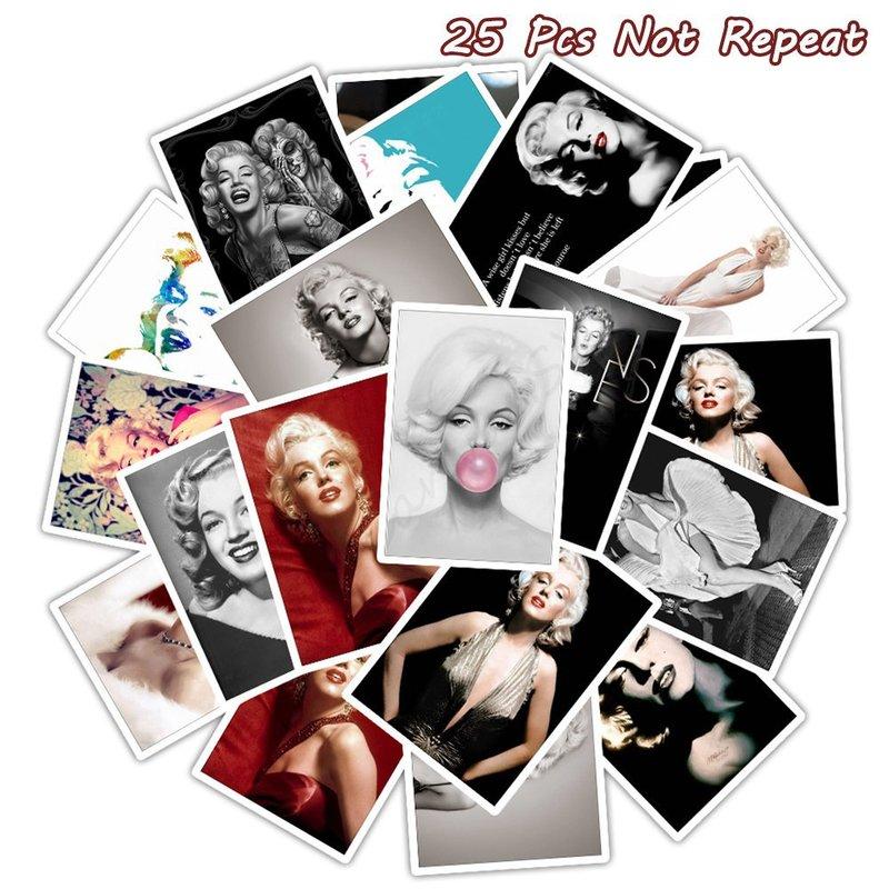 25 pçs famosa atriz marilyn monroe adesivos para diy bagagem skate decalques do portátil guitarra decalques brinquedo sexy adesivos