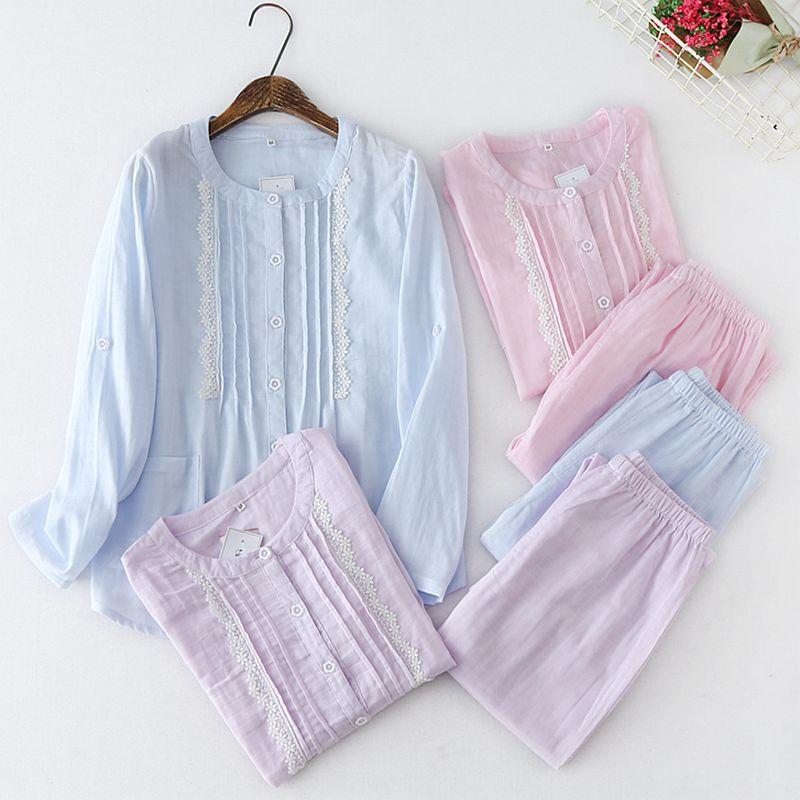 Pijamas de algodón para mujer, conjuntos con pantalones, Pijama de manga larga, bonito Pijama con botones de dibujos animados, pijamas para el hogar, pijamas para mujer