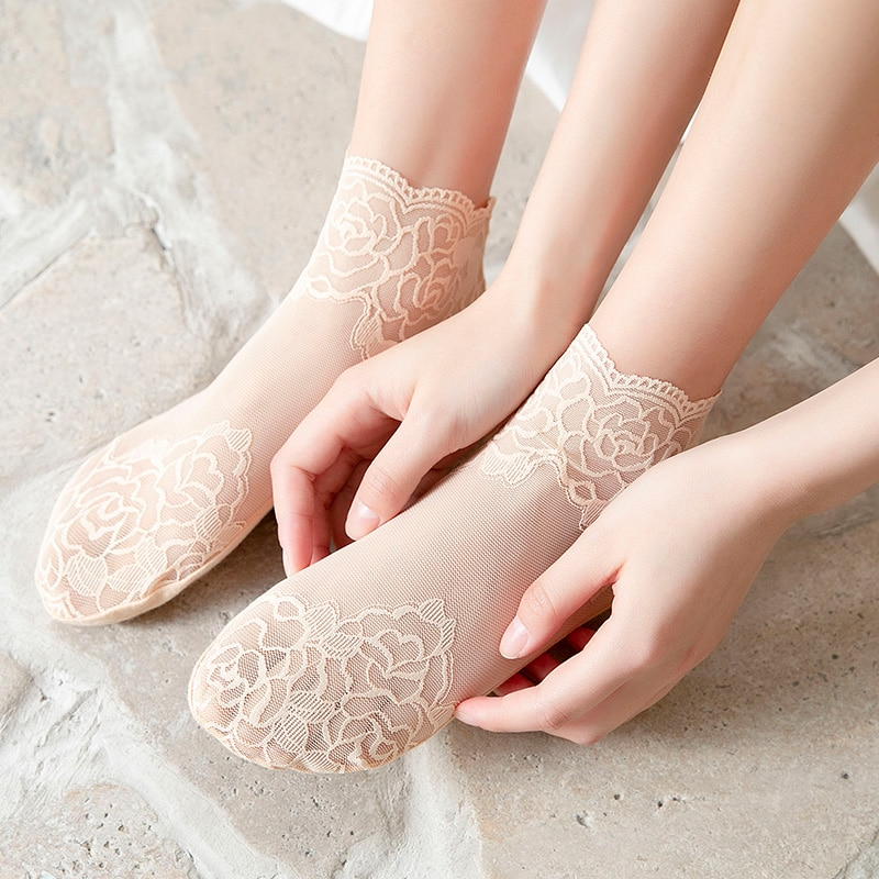 HYRAX Women Lace Stockings thin crystal stocking design Cute fashion sexy Women's outdoor casual sto