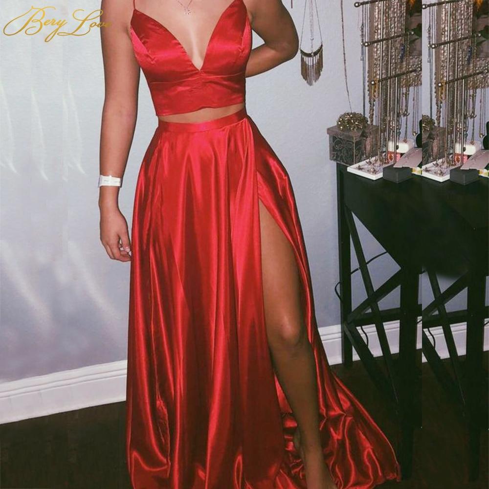 Vestido de graduación satinado en rojo 2020, dos piezas, cuello en pico, vestido de fiesta con abertura larga, vestido de noche calurosa, de talla grande