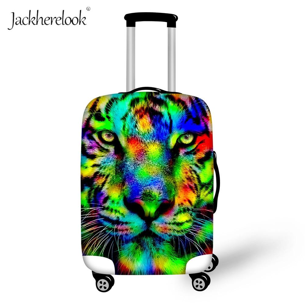 Jackherelook colorido Tigre imprimir viaje maleta bolsa cubierta arco iris multicolor Cheetah/León/Lobo equipaje/equipaje hoja