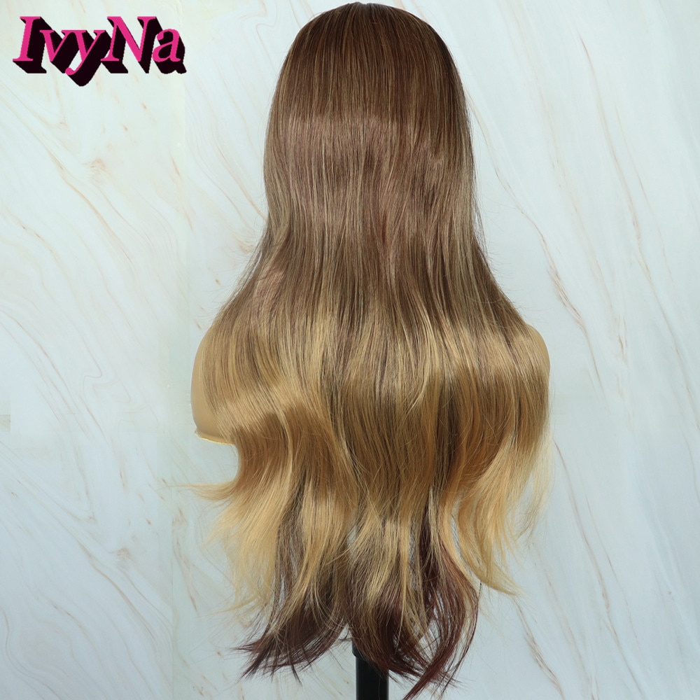 Rainbow Snow Long Wavy Ash Blond Ombre Wigs for Women Dark Brown Body Wave Middle Part Synthetic Mixed Color Cosplay Wigs Party
