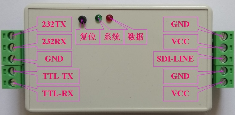 RS232 إلى SDI-12 محول الماسك مصححة يدعم امدادات الطاقة الجهد واسعة