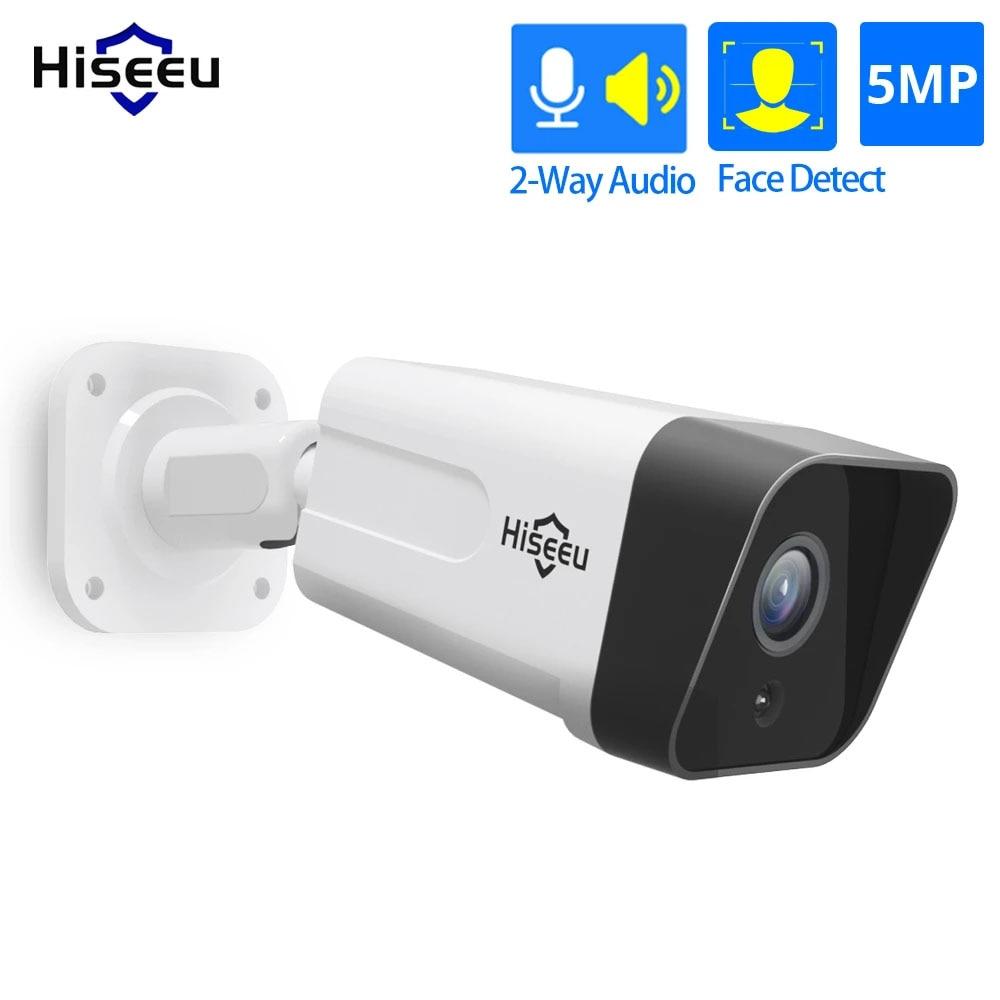 Hiseeu 5MP 3MP POE IP Camera Audio Record CCTV Security Surveillance Waterproof IP66 Outdoor Home Video H.265