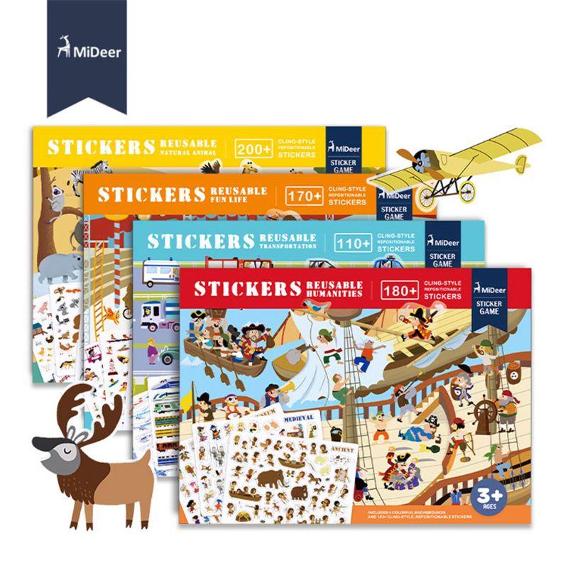 MiDeer, nuevas pegatinas reutilizables, colección de libro, almohadilla de juego, juguetes educativos para niños, rompecabezas, regalo, escenas de fondo extraíbles