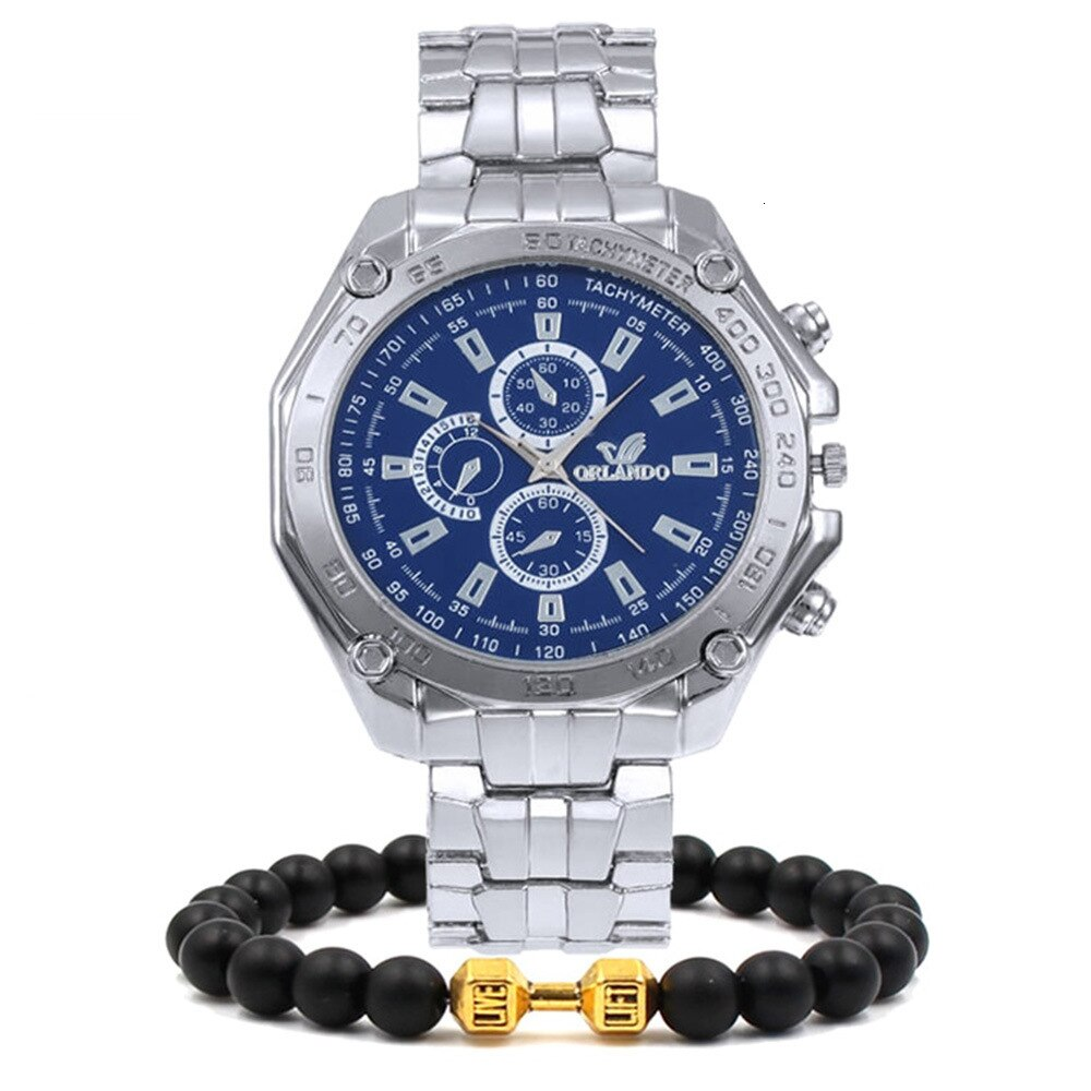 Originality Mans Watch Hot Sale + Bergamot Pearl Bracelet Stainless Steel Watch Men Wristwatch Luxury Brand Mens Watches Quartz enlarge