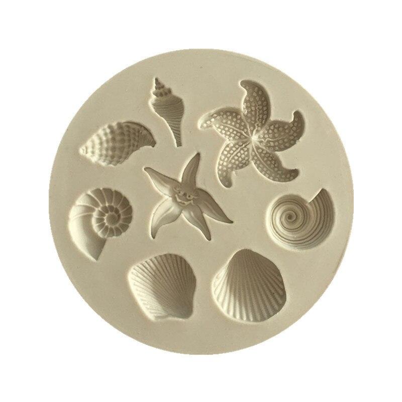 Herramientas para decoración de tartas DIY, figuras de concha de mar con forma de estrella, caramelo, tarta de Fondant, moldes de silicona, molde creativo DIY para Chocolate