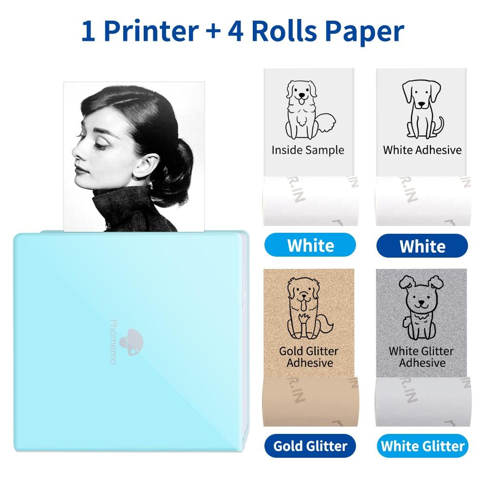 Портативный принтер Phomemo M02, фотоаппарат без чернил с цветными рулонами бумаги, принтер для печати штрих-кодов