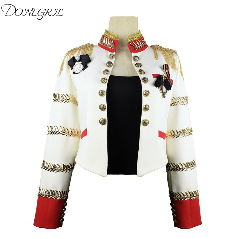 Mujer chaqueta blanca vestido con flecos club nocturno traje de cantante anfitrión ceremonial ropa para el escenario chaqueta con cadena