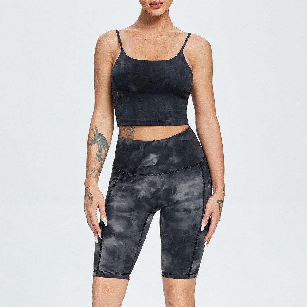 Комплекты с шортами, Лидер продаж, костюмы для йоги, женские быстросохнущие облегающие костюмы для фитнеса, женские спортивные костюмы для ...