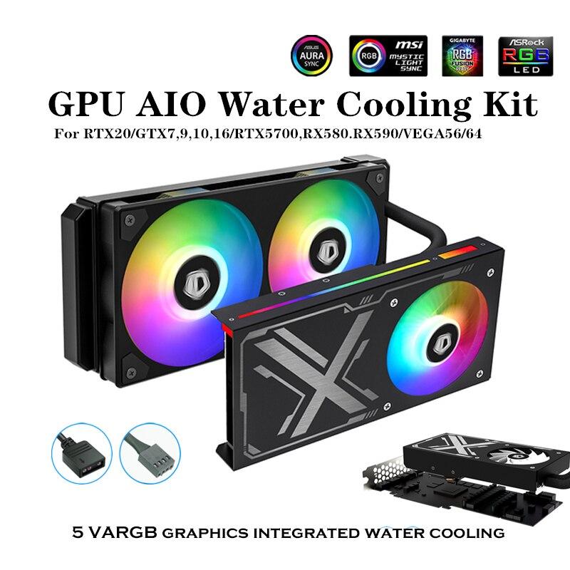 وحدة معالجة الرسومات AIO مجموعة تبريد المياه ل RTX20/GTX7 ، 9,10 ، 16/RTX5700 ، RX580.RX590/VEGA56/64 ، بطاقة الرسومات المبرد 5 فولت ARGB مزامنة ID-التبريد