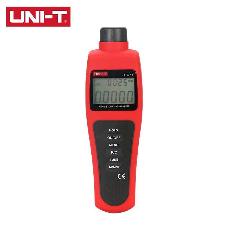 UNI-T مقياس سرعة الدوران UT371 UT372 قياس سرعة دوران رمح أو القرص (تشغيل/إيقاف) مؤشر ليزر RPM/العد والوقت المزدوج العرض