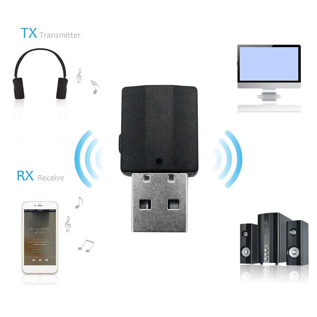 2 In1 Bluetooth 5.0 Audio Receiver Transmitter Wireless Adapter Mini 3.5mm AUX Stereo Bluetooth Transmitter for TV PC Car Double