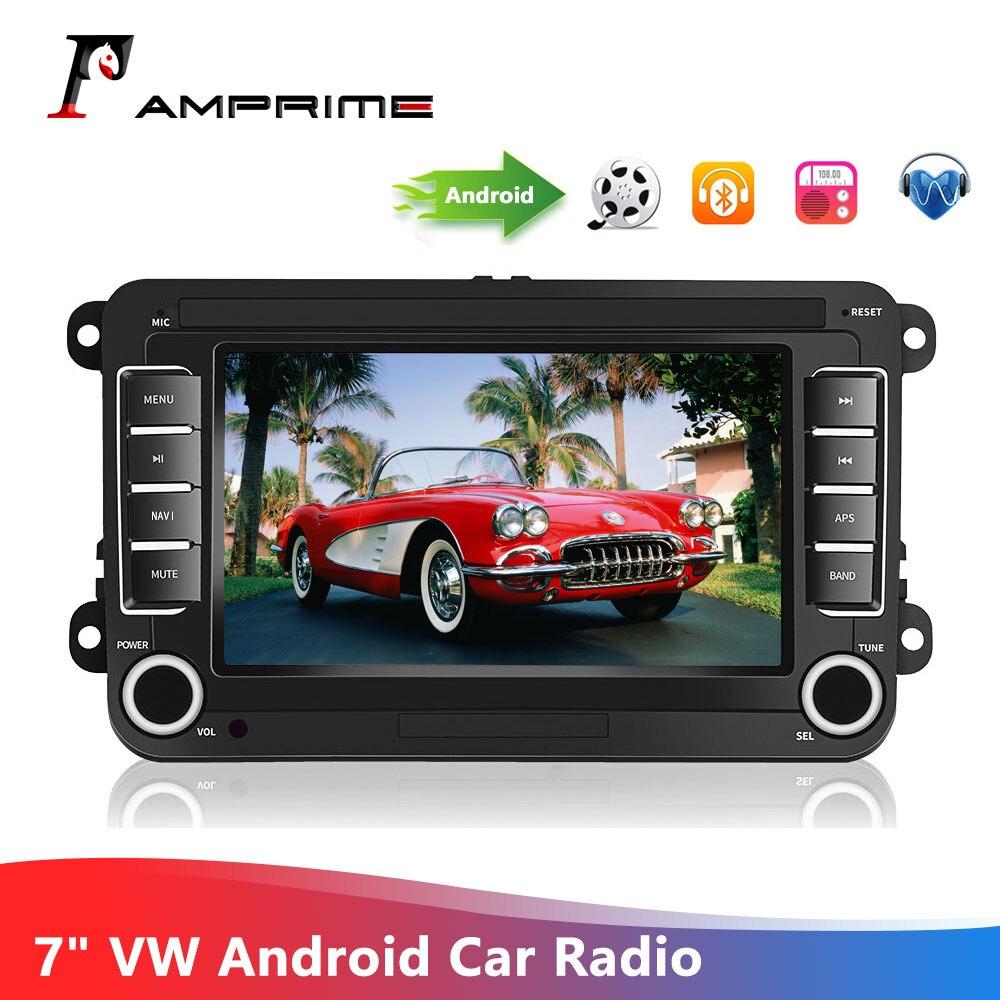 """Amprime jogador do carro autoradio 7 """"vw android tela de toque rádio multimídia jogador navegação gps bluetooth usb fm mp5 rádio do carro"""