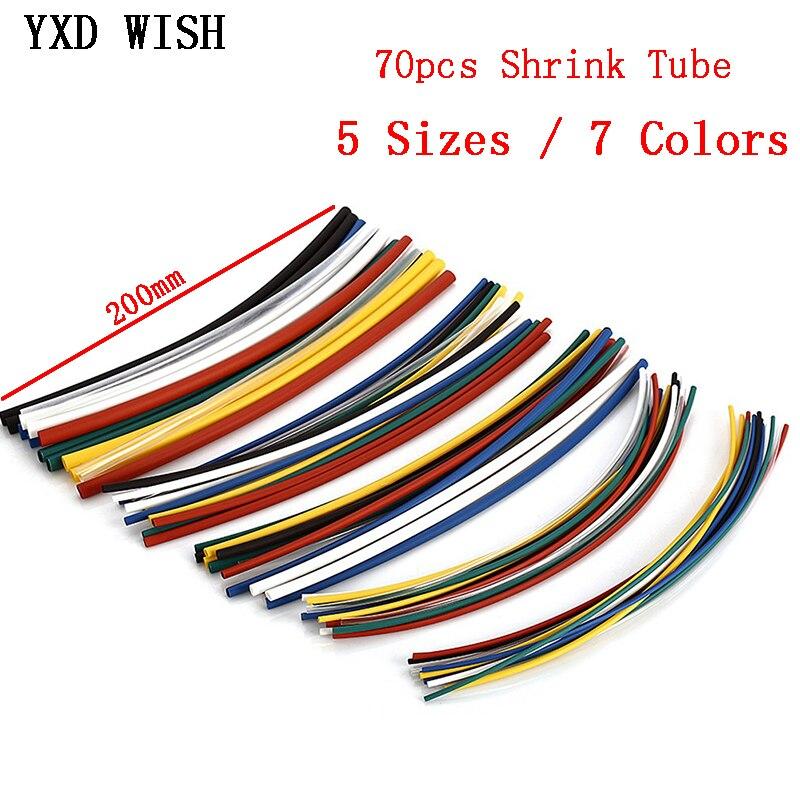 Kit de thermorétractable multicolore de 70 pièces, manchons de câbles enveloppés en polyoléfine 21, ensemble complet de câbles thermorétractables isolés