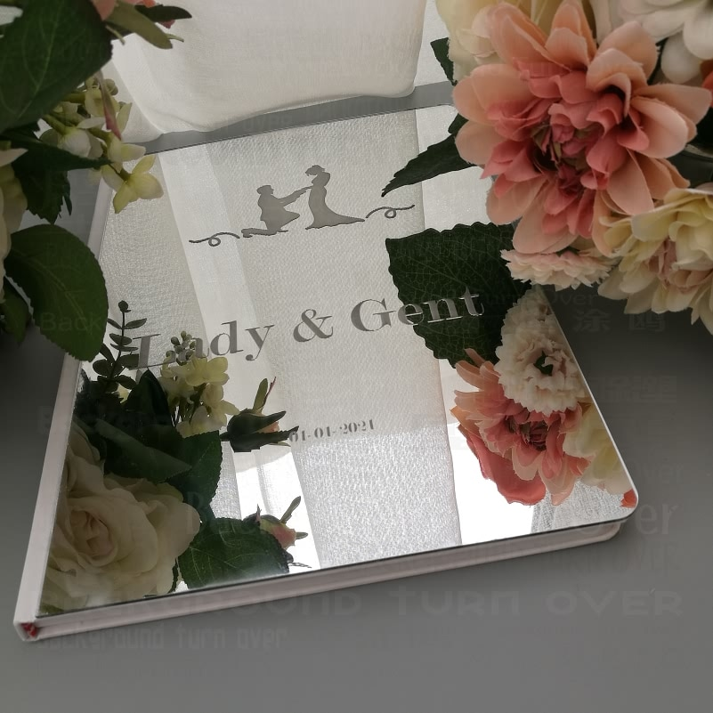 Libro de invitados boda Libro de Visitas personalizado firma decoración espejo personalizado fiesta blanca personalizado fecha nombres regalos para G019