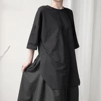 women black hem vent big size t shirt new round neck three quarter sleeve fashion tide spring autumn 2021