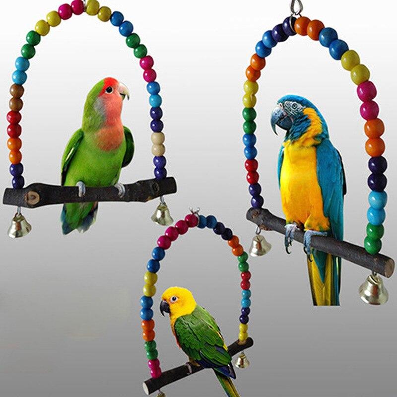 1 pieza de loro de madera Natural Columpio de juguete pájaros cuentas coloridas pájaro suministra campanas juguetes percha colgante columpios jaula para mascotas