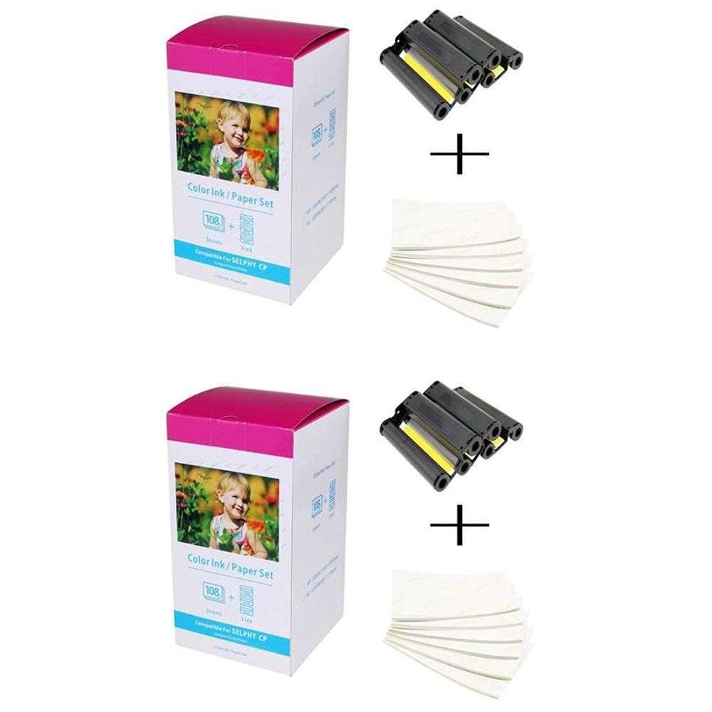 2 قطعة ورق طباعة الصور طابعة كانون متوافقة KP-108IN 3 اللون الحبر كاسيت 108 ملاءات 4x6 ورقة لامعة لكانون SELPHY CP1300 ، CP1200