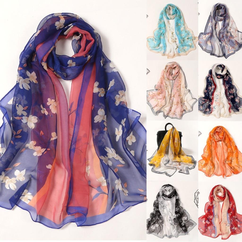 Pashminas para mujer, 160*50 см, Женский Длинный мягкий шарф с цветочным принтом, имитация шелковой шали, шарфы, шарф, женский платок, атлас
