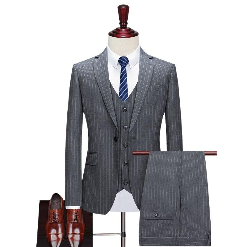 Pinstripe slim-fitting men's suit for formal wedding tuxedo notch lapel 3piece set grey black stripe business groom male fashion
