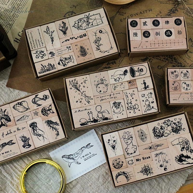 Conjunto de sellos y sellos de estilo Vintage de princesa y Planeta para decoración de álbumes de recortes, sellos de goma madera para hacerlo tú mismo