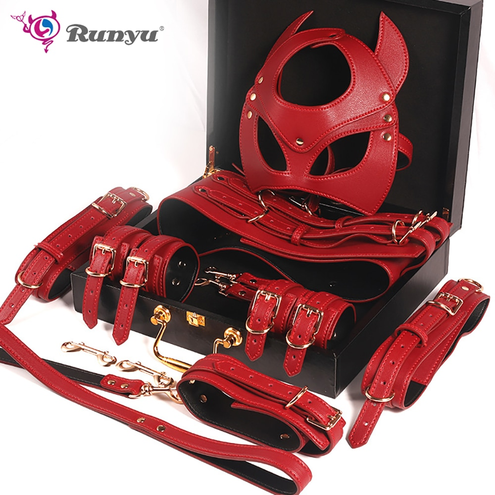 RunYu Red knight bondage suit Adult Game Exotic Sex Products Bundle Set BDSM Kit Handcuffs Sex Toys Whip Female Toys Accessories