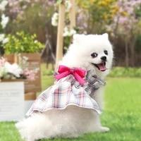 summer dog plaid bow dress pet sleeveless skirt pet dog wedding dress for chihuahua pug yorkie clothing girl puppy cats supplies