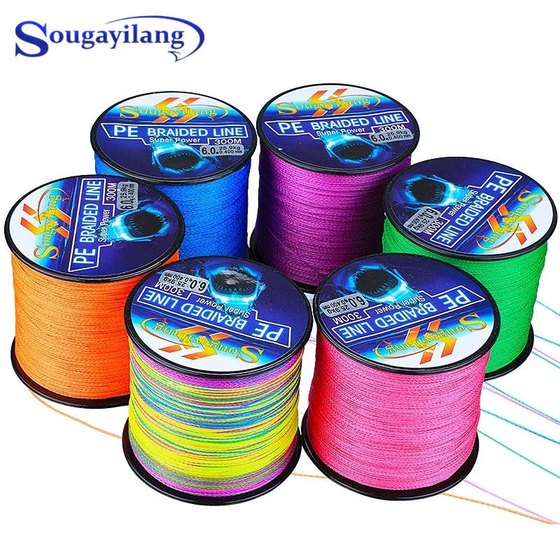 Sougayilang 4 Strands Braided Fishing Line 0.6-8.0# 300M PE Fishing Line 6.3-32.8kg Multifilament Fishing Line Smooth Pesca sougayilang 300m 4 strands braided fishing line 0 6 8 0 pe fishing line 6 3 32 8kg multifilament fishing line smooth pesca