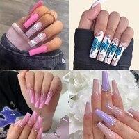 press on nails 24pcs false french nail decor manicure long square nails extension ballerina detachable decal decoration