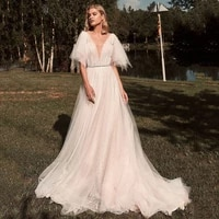 champagne turkey wedding dresses tassel glitter tulle bride dress beach boho wedding gowns backless vestido de noiva casamento