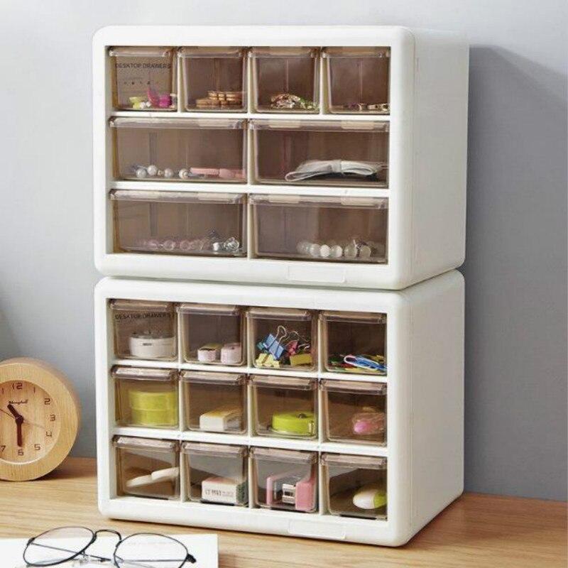 Multi-grades caixa de armazenamento gaveta organização à prova de poeira caixa de armazenamento de jóias quarto sala de estar diy gaveta gabinete de plástico caso