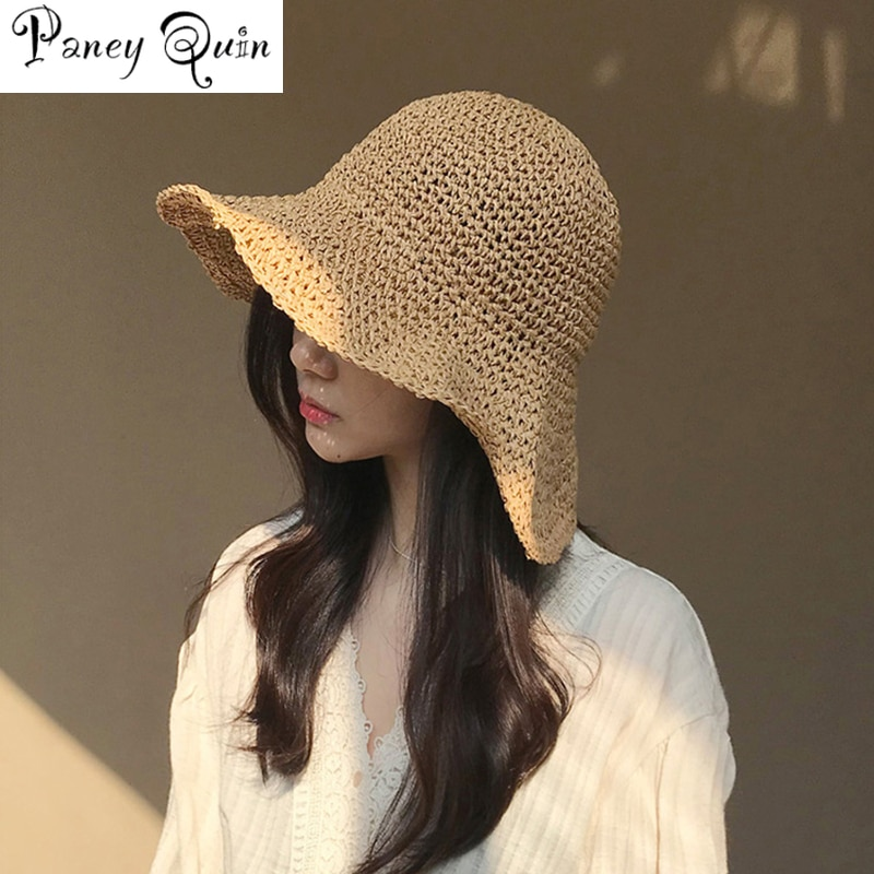 bucket hat women spring panama cap sun summer beach wide brim climbing holiday outdoor accessory brand WOMEN Summer Hats Sun Beach Panama Straw hat Wide Wave Brim Folded Outdoor CAPS Leisure Holiday Raffia Cap visors hat