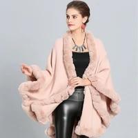 sanofi womens fashion artificial fur shawl loose and elegant autumn and winter solid color long cape