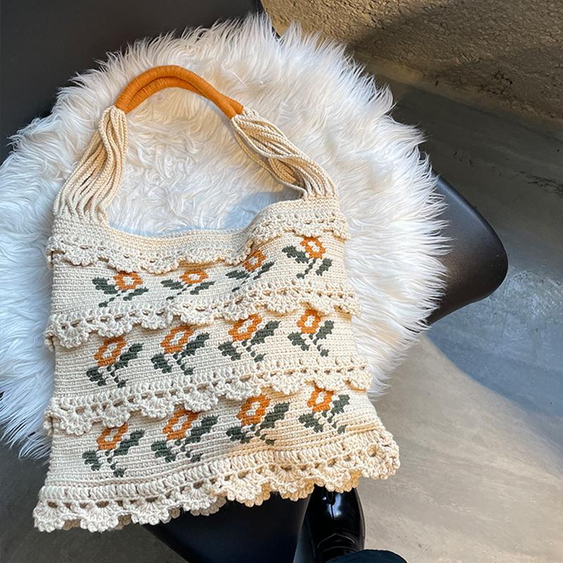 Handmade Wool Knitting Women Shoulder Bag Crochet Woven Flowers Women Handbags Cotton Thread Knitted Hand Bags Women's Bag 2021