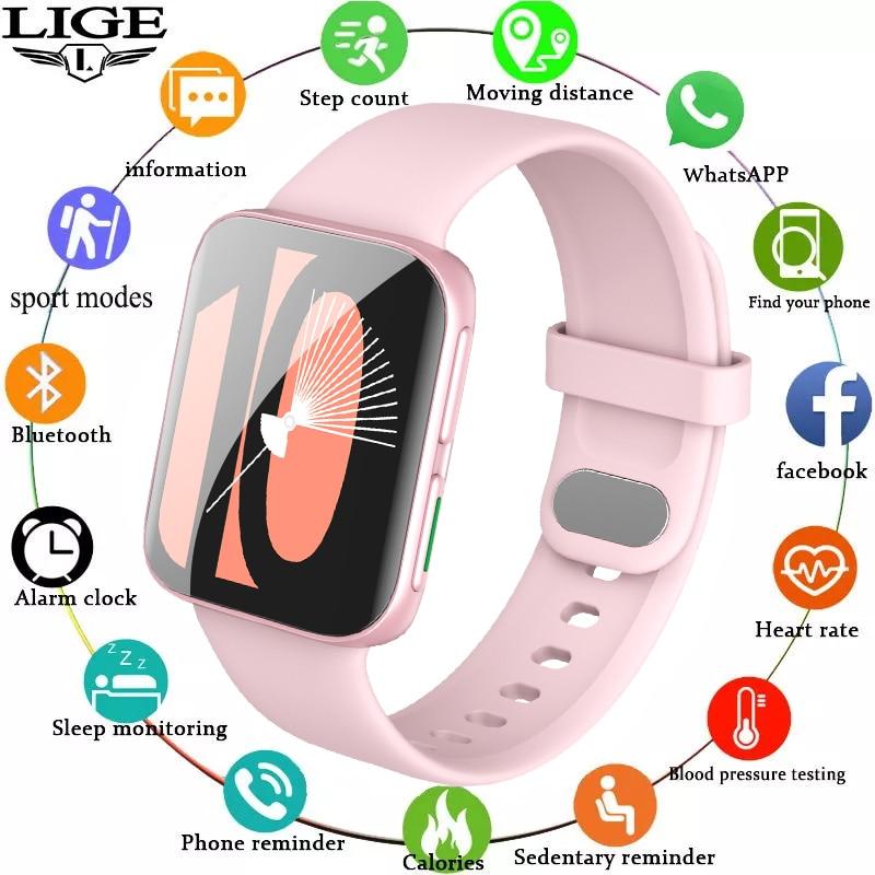LIGE New Bluetooth Call Women Smart Watch 1.75 Inch Full Touch Fitness Tracker Music Control Xiaomi