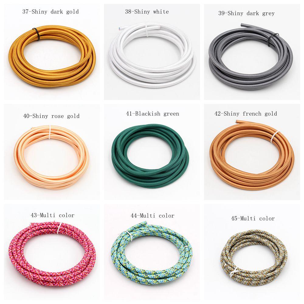 100 m/lote VDE certificado 2 núcleo redondo textil Cable eléctrico Color tela de alambre trenzado Cable Vintage Cable de alimentación para lámpara