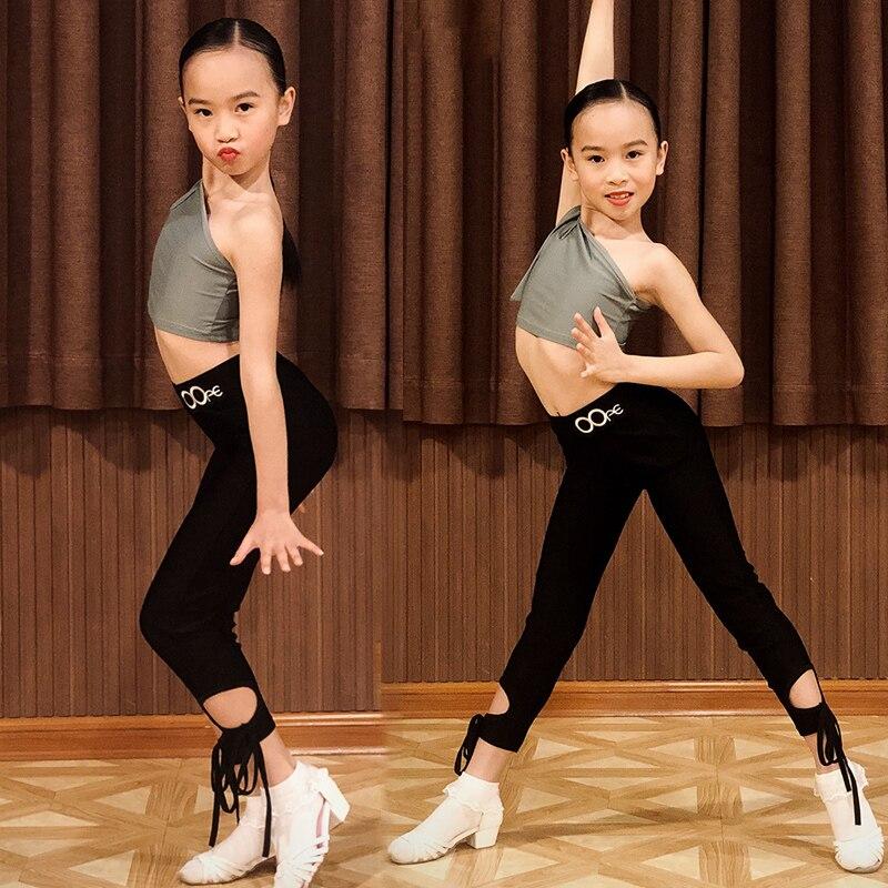 Ropa de baile latino de verano para niñas, traje/Tops/pantalón para niños pequeños, traje de competición de examen de nivel, Crop Top BL4160