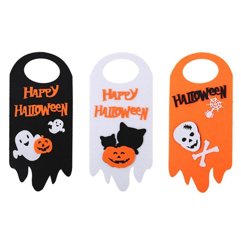 Halloween puerta colgante Hangtag accesorios de Halloween decoración de ventanas calabaza gato fantasma colgando tiras Decoración