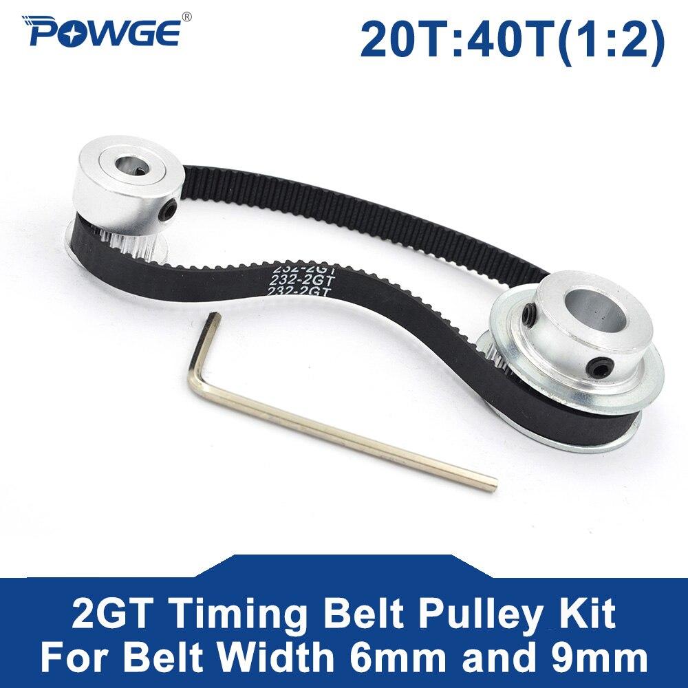 Powge 2m/2gt 20 dentes 40 dentes sincronismo síncrono polia correia Bore5-12mm 12 20 t 40 t velocidade relação para 232-2gt cinto largura 6/9mm kit