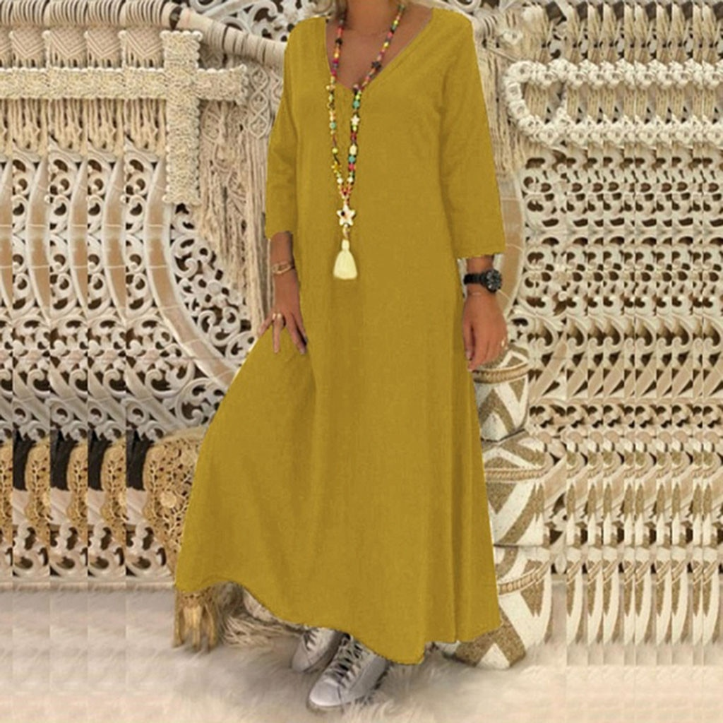 Feitong Plus Größe Frauen Kleid 5XL Freizeit Kleid Frauen Damen Fashion V-ausschnitt Lange Hülse Lose Freizeit Lange Kleid