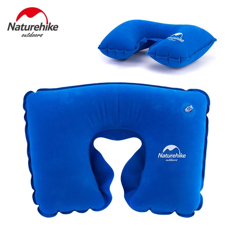 Naturehike Venta de fábrica almohada inflable portátil en forma de U, almohada inflable de viaje, cojín suave de cuello, reposacabeza, almohada protectora de avión