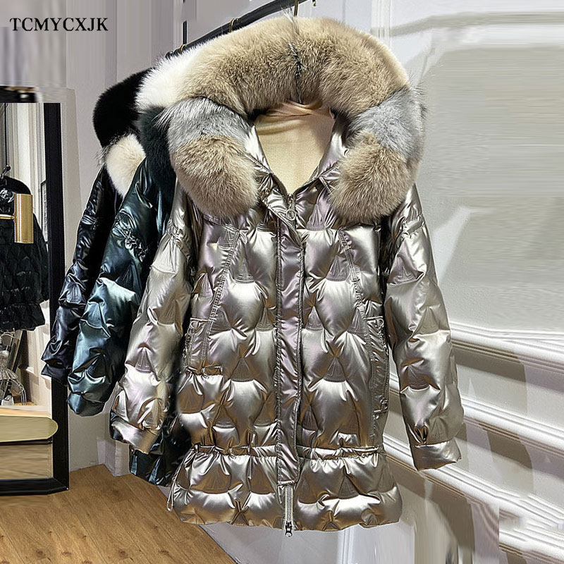 Chaqueta de Invierno para mujer 2020 nuevo brillante cara con capucha piel de zorro moda mujer Parkas pluma suelta chaqueta de plumón de pato blanco Mujer
