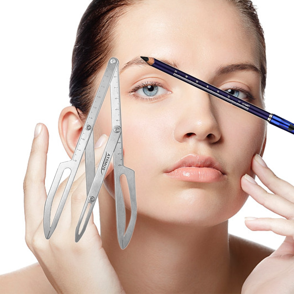 Impermeable a prueba de sudor lápiz de cejas de doble cabeza de larga duración lápiz de cejas de acero inoxidable de posicionamiento regla pinzas