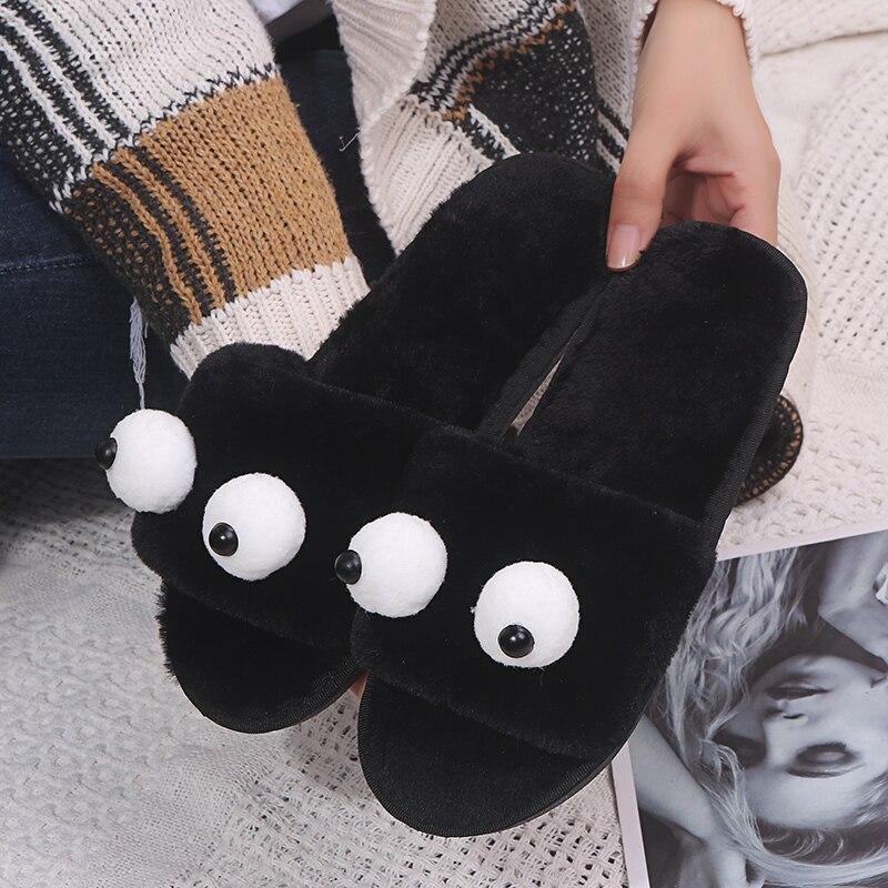 Bonitas zapatillas de mujer para interior, de verano y otoño, con tacón plano de felpa, para mujer, universidad, chicas, pantuflas bonitas de uso diario de piel sintética