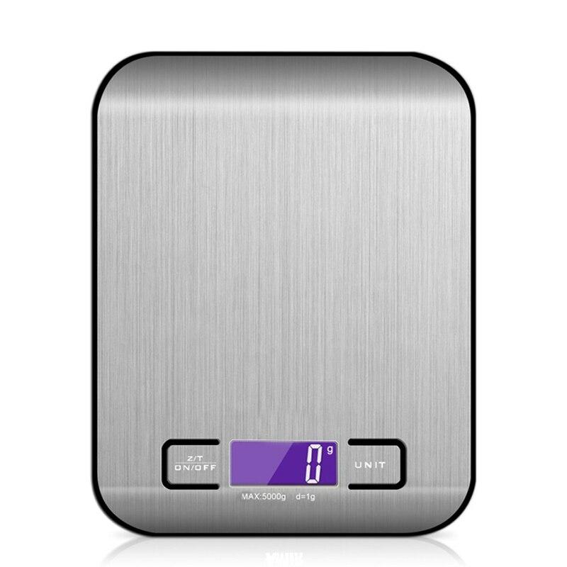 Báscula Digital para cocina, 5000g, 1g, multifunción, balanza electrónica para cocinar alimentos, peso, gramo de onza, retroiluminado de acero inoxidable