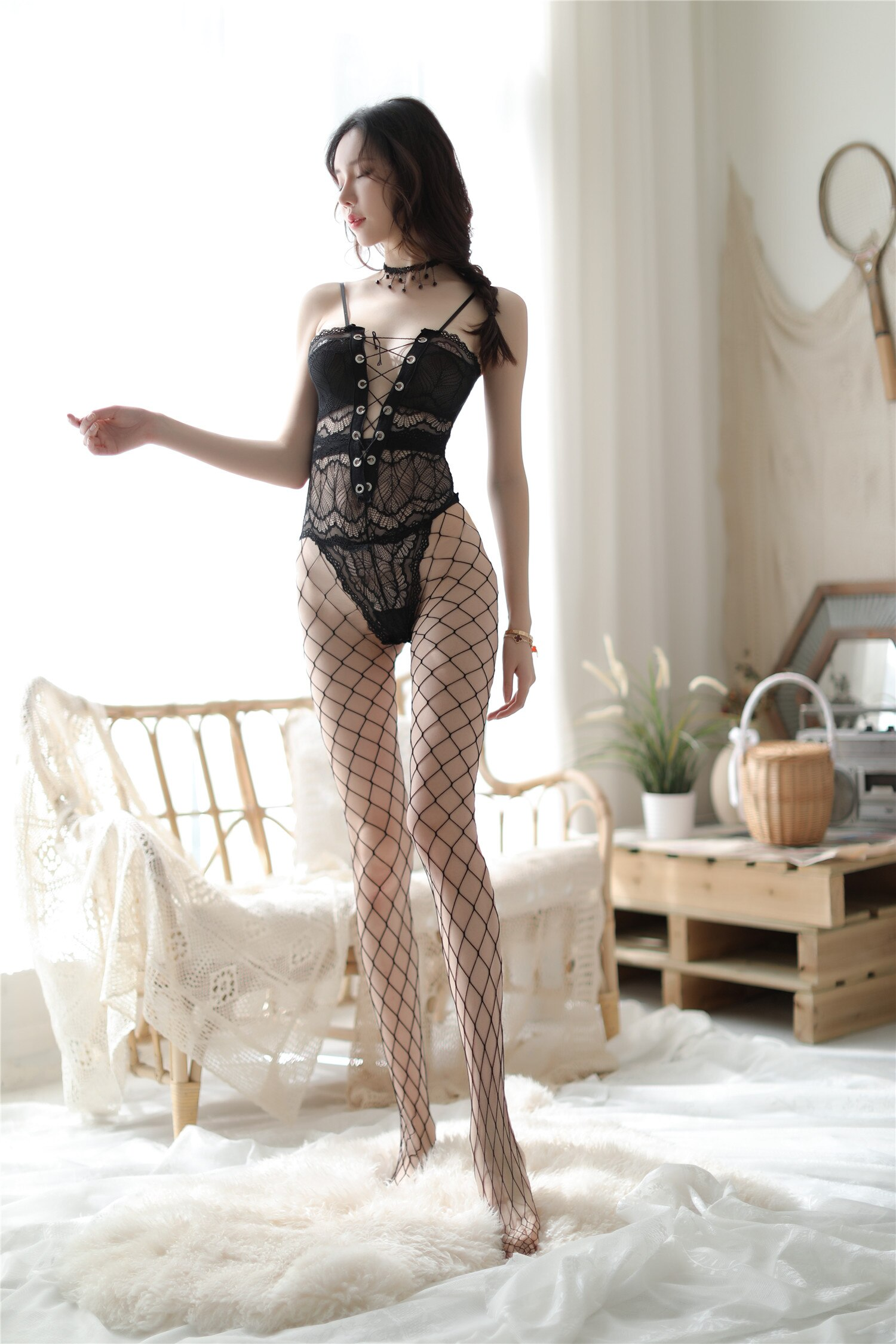 Black sexy sexy one-piece stockings tight-fitting breastless and crotchless transparent one-piece fi