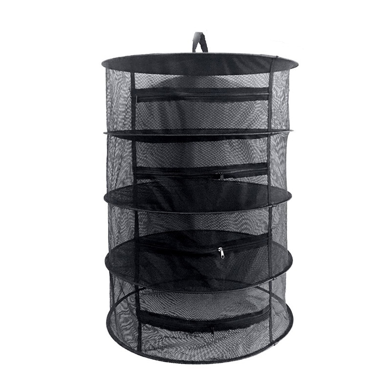 4 طبقات شبكة سلك قابل للإغلاق معلق صافي أسود تجفيف الرف الملابس سلة الغسيل حقيبة التخزين عشب برعم تجفيف الأدوات المنزلية-30